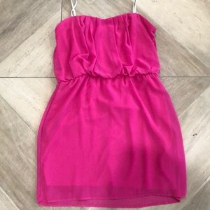 Juniors hot pink strapless dress.
